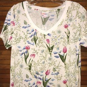 LuLaRoe S Tulip Flower Print Christy Top